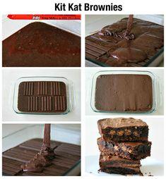 Receita de brownie que leva kit kats como recheio. Já pode comer?