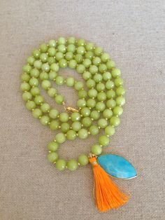 The Comal-Lime Green Agate Necklace with Turquoise and Tassel Pendant