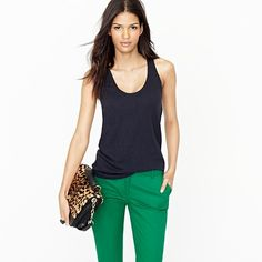 Green & Navy combo, proper trousers, tank top, can add cardigan, jacket, any number of accessories