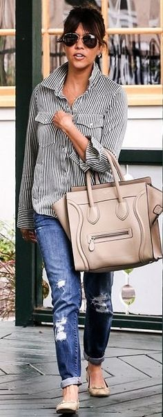Kourtney Kardashian: stripes button down, distressed jeans, celine bag