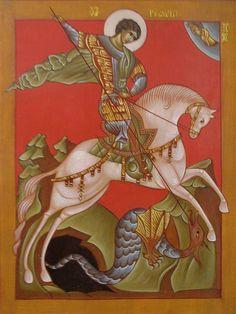 Saint George and the Dragon Dragon Icon, Saint George And The Dragon, Angel Sculpture, Russian Orthodox, Byzantine Icons, School Themes, Orthodox Icons, Christian Art, Monster