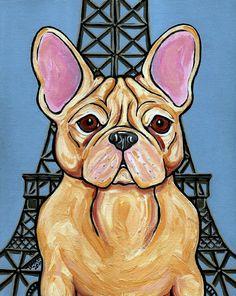 Effiel Tower Frenchie Dog Painting by Pet Art Melinda