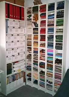 Cool fabric stash on Benno/Billy CD shelves from Ikea