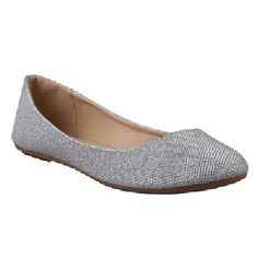 Bridesmaids shoes  REFRESH DEMI-07 Women's Glitter Shinny Ballerina Ballet Slip On Flats,7.5 B(M) US,Silver