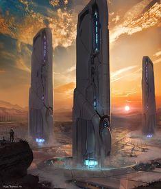 scifi-fantasy-horror: by Jose Borges Fantasy Places, Sci Fi Fantasy, Fantasy World, Futuristic City, Futuristic Architecture, Site Art, Sci Fi City, Cyberpunk Art, Science Fiction Art