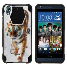 HTC Desire 626 Case SHOCK FUSION High Impact Hybrid Dual Layer Kickstand - Blazing Tiger