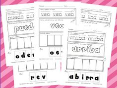 Kinder Latino: Bilingual Teaching Resources: Trace, Color, Build Words freebie