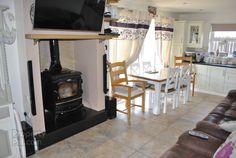 Stanley stove, chimney bit much showing