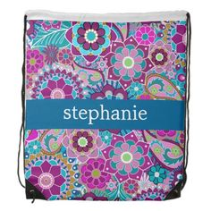 Customizable Teal Pink Purple Floral Pattern with Custom Name Drawstring Bag
