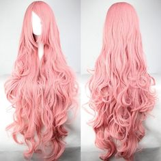 Super Long 100CM Pink Shaggy Long Curly Side Bang Vocaloid Megurine Luka Charming Cosplay Wig
