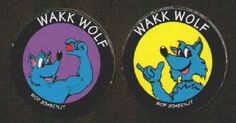 WAKK WOLF POGS (Worlds of Fun, BENJY, 1993): Smooth surface, Lot of 2 different, Blue Wolf. Both for 60¢