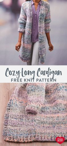 Mar 2020 - Cozy Long Cardigan free knit pattern in Collage yarn. - Mar 2020 – Cozy Long Cardigan free knit pattern in Collage yarn. Make a statement with this f - Knitting Blogs, Easy Knitting Patterns, Vogue Knitting, Knitting For Beginners, Knitting Stitches, Knitting Designs, Knitting Needles, Knitting Sweaters, Diy Knitting Projects