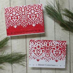Cassandra here today sharing a two for one card technique. Lace Stencil, Christmas Sentiments, Red Glitter, My Stamp, Magenta, Card Stock, Stencils, Merry Christmas, Holiday