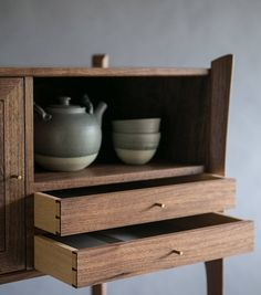 Made of walnut and queensland silverash with hand turned brass handles. The beautiful tea set is made by… Studio Furniture, Living Furniture, Fine Furniture, Furniture Ads, Furniture Stores, Luxury Furniture, Furniture Design, Walnut Furniture, Cabinet Furniture