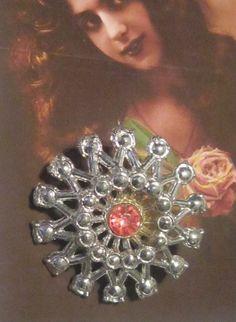 Vintage Floral Brooch With Rhinestone by EyecatchersBoutique