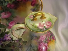 Victorian Roses CHOCOLATE COCOA POT Antique Limoges France Chocoliatiere HAND PAINTED TEA ROSES Fine Vintage Heirloom China Painting, Very Rare Mold, Circa 1900