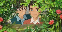 From up on poppy hill, Shiro Mizunuma and Shun Kazama peering through the bushes at Umi's flags