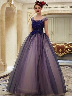 2017 Formal Evening Dress Ball Gown Scoop Floor-length Lace / Tulle with Appliques