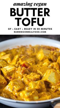 """Vegan Butter Chicken Recipe Incredible, vegan """"butter chicken style"""" tofu ready in less than 30 minutes. This is so easy to make for a quick weeknight dinner! Indian Food Recipes, Whole Food Recipes, Vegetarian Recipes, Cooking Recipes, Healthy Recipes, Vegan Tofu Recipes, Firm Tofu Recipes, Paleo Sushi, Flour Recipes"""