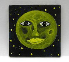 VOLLMOND von Herbivore11 Mond Stern Unikat Minibild Inchie kleine Kunst sammeln