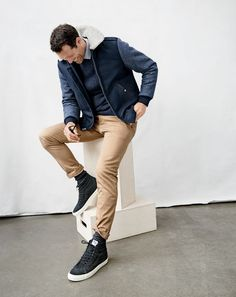 J.Crew men's Wallace & Barnes sherpa-collar bomber jacket, sweater, Ludlow shirt in midnight sea stripe, stretch chino in 484 fit and Vans® for J.Crew SK8-Hi sneakers in monotone suede.