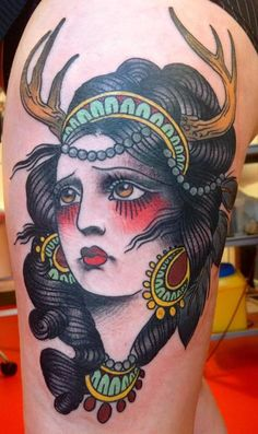Alix Ge. Traditional tattoo.  Love the shade under the eyes!!