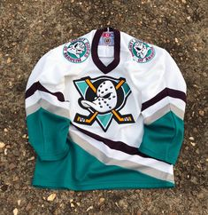 Excited to share this item from my shop: The Mighty Ducks Jersey Shirt Hockey NHL White/Green Size Small For Kids Windbreaker Jacket, Bomber Jacket, Ducks Hockey, Nhl Jerseys, Anaheim Ducks, Jersey Shirt, Flow, Etsy Shop, Trending Outfits
