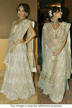 Bollywood Actress Malaika Arora khan net lehenga in golden color