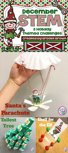 Task Shakti - A Earn Get Problem Build A Parachute For Santa, A Shelf For The Elf, And The Tallest Tree 3 Holiday Themed Stem Challenges For Elementary Students Stem Activities Stem Projects Stem Activities, Classroom Activities, Holiday Activities For Kids, Classroom Ideas, Holiday Games, Classroom Door, Creative Activities, Science Classroom, Der Elf