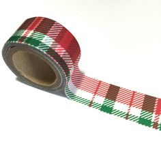 RED & GREEN PLAID Wide Washi Tape Roll Holiday winter craft planner crafts planners cards card white pattern