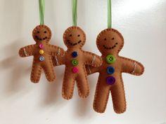 Christmas Decorations - Wool Felt - Gingerbread Man - Three Sizes - Yule - Merry Christmas