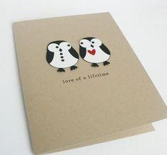 Valentines Day Card Penguin Wedding