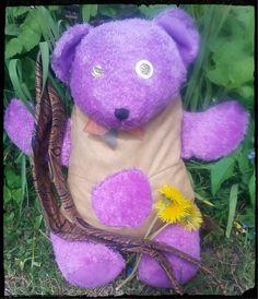 3D Teddy Bear Tote/Purplebeigeturquoise by one of a kind larissamyrie.art #fashion #style #art #barbie #shoppingbag #totebag #shoulderbag #slowfashion