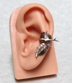 Sparrow Forest Leaf Ear Cuff ' left ear ' by ranaway on Etsy, $20.99