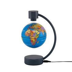 The 4-inch Magnetic Levitating Blue Ocean World Globe by Stellanova stands 8 inches tall and features classic globe design along with superior technology, allowing the sphere to be perfectly balanced in mid air between the two points of the charcoal finished metal base. #desktopglobes #floorglobes #worldglobes #education #geography #teaching #vintage #revolvingglobes #levitatingglobes