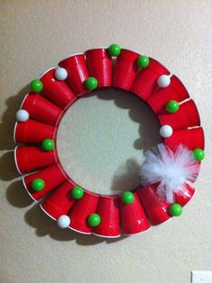 Red Solo Cup/Beer Pong Wreath...MUST have for your Ugly Christmas Sweater Party!