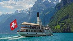 Took a boat trip - Lake Lucerne, Switzerland Switzerland Tourism, Lucerne Switzerland, Swiss Switzerland, Swiss Travel Pass, Steam Boats, Boat Rental, Swiss Alps, Swiss Chalet, Viajes