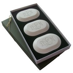 Eco-Luxury Monogrammed Soaps: Three custom bars carved in the monogram of your desire presented in a timelessly elegant keepsake box.  Soaps are Made in Vermont, 100% Vegetable Based, Triple-Milled & Aqua Mineral Fragrance.  ONLY safe for sensitive skin and noses in the industry!
