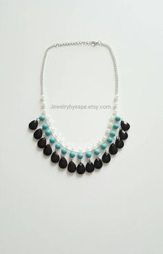 Turquoise Necklace,Black Pearl Statement Necklace, Chunky Bib, Boho, Bohemian, Layering, Necklaces, gift for her, Western, Tribal, Retro by JewelrybyEspe on Etsy https://www.etsy.com/listing/248108645/turquoise-necklaceblack-pearl-statement