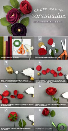 For that special occasion, try decorating with these extra fine crepe paper ranunculus flowers. Courtesy of Lia Griffith, these faux flowers feature multiple colors and can be grouped together to create an attractive bouquet.Crepe Paper Iris with SVG Faux Flowers, Diy Flowers, Fabric Flowers, Ranunculus Flowers, Flowers Decoration, Flowers Garden, Crepe Paper Decorations, Homemade Decorations, Order Flowers