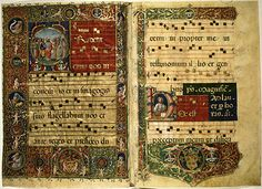 Music score (antiphoner) from a late Gothic psalter. This website has so many illuminated manuscript pages that it's really worth a look!