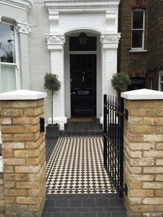 Black and white Victorian mosaic tile path Balham Clapham Batersea fulham Chelsea London Victorian Front Garden, Victorian Terrace, Chelsea London, Victorian Townhouse, Victorian Homes, Exterior Paint, Interior And Exterior, Future House, Victorian Mosaic Tile