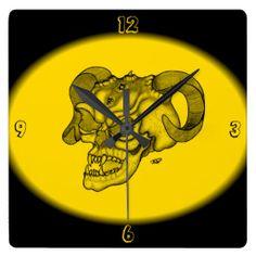Skull Devil Head Black and Yellow Design Wallclocks NEW by Krisi ArtKSZP on Zazzle