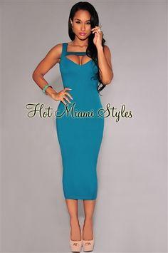 cda6d7a17e Emerald Peep-Hole Sleeveless Midi Dress. Hot Miami Styles