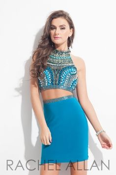 Two-piece jersey fitted mini with beaded crop top. Order today by calling Everything for Pageants at 1-815-782-8877 and ask for our current promotions.
