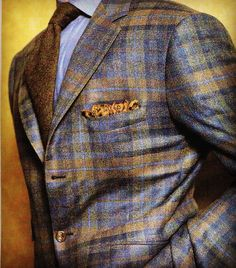 Friday flannel blanket plaid jacket in warm, autumnal shades. Here, with wool challis pocket square, chambray shirt and cashmere tie. Not seen, lighter blue washed denim jeans. Sharp Dressed Man, Well Dressed Men, Mens Fashion Suits, Mens Suits, Style Masculin, Plaid Jacket, Suit And Tie, Gentleman Style, Mode Style