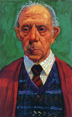 David Hockney: title unknown [portrait of a senior]. Oil on canvas.