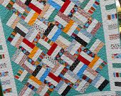 Jelly Roll Quilt Pattern  - Pickup Sticks - Baby and Throw Sizes - Quick & Easy - PDF version