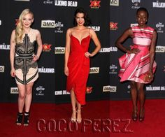 Emily Kinney, Lauren Cohan, and Danai Gurira slay with their sexy frocks at The Walking Dead's season 5 premiere!