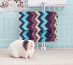 Guinea Pig Hay Bag / Guinea Pig Hay Pouch / Chevron / Colorful / Hay Sack / Disco Chevron